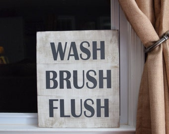 Wash Brush Flush bathroom sign, bathroom decor, vintage rustic bathroom, kids bathroom, family bathroom