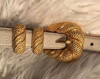 Vintage Sandy Duftler Designs Off White Skinny Belt