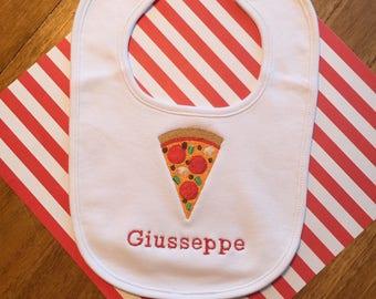 pizza party, baby boy, bibs, personalized bib, monogrammed bib, baby shower gift, baby shower boy, Italian bib, Italian baby, 1st birthday