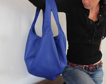 Leather bag Royal Blue large