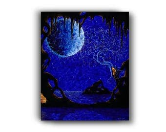 20 in. x 16 in. Giclée, Canvas Print, Acrylic Painting, Contemporary Art, Surrealism, Blue, Orange, Cave, Ocean
