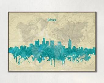 Atlanta skyline, Atlanta, Canvas, Print, Travel, Art, Home Decor, Painting, Vintage, Skyline, City prints