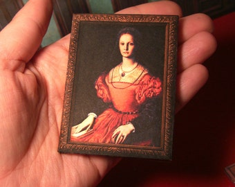 MINIATURE framed painting art- Countess Elizabeth Bathory-  Printable - with video tutorial - Instant Digital download - Scale 1:12