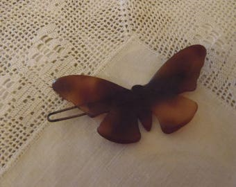 Vintage French Barrettes Faux Tortoise Shell Butterfly 1970s approx 2 1/2 inch (62 mm) wide