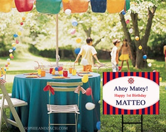 Personalized Waterproof Outdoor Preppy Nautical Party Yard Sign with Ground Stake