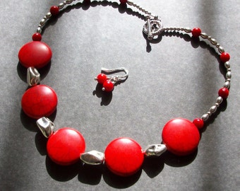 Coral Necklace Big Necklace Bold Chunky Necklace Silver Red Necklace Semi precious Necklace Gemstone Red Coral Necklace Earrings Set
