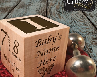 Personalized Wooden Baby Block Ornament, Custom New Baby Gift, Wooden Block for Child