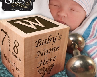 Modern Wood Block for New Baby / Personalized, Customized Wooden Keepsake for a new family
