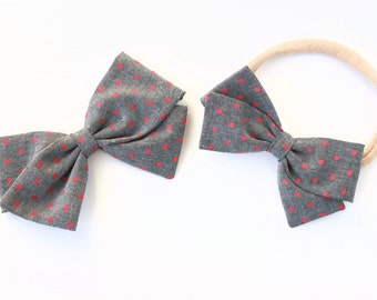 Girls Hair Bows - Gray with pink polka dots, Large or Small Bow with nylon headband or clip for girls