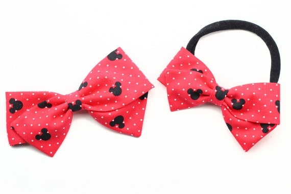 Baby Bow, Toddler, baby girl, fabric bow, nylon headband or clip, newborn, Red Mickey Mouse Bow