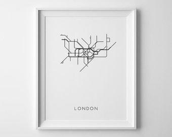 London Print, Subway Art, London Subway Map, Subway Map Print, Subway Art Print, London Printable, London Subway Art