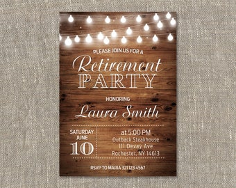 Retirement Invitation.Retirement Party Invitation.Retirement Celebration.Wood.String Lights.Rustic.Printable digital