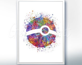 Pokemon Poke Ball Pokemon Go Watercolor Art - Watercolor Painting - Watercolor Poster - Wall Decor - Home Decor - House Warming Gift