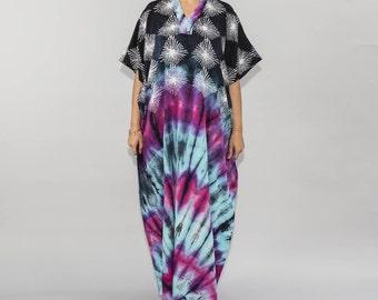 Boho Chic Tiedye Batik Kaftan Modern Cotton Caftans, Beach Wesr, Resort Wear, Summer Maxidress, 100% Comfort