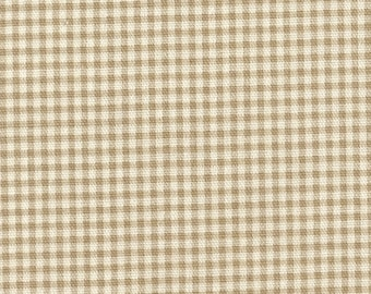 "15"" Full Tailored Bedskirt, Linen Beige Gingham Check"