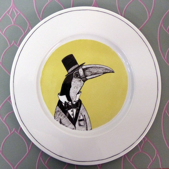 Hand painted porcelain collection plate  - toucan