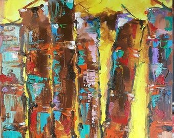 Original New MENDOZA Contemporary modern vintage abstract books canvas art painting