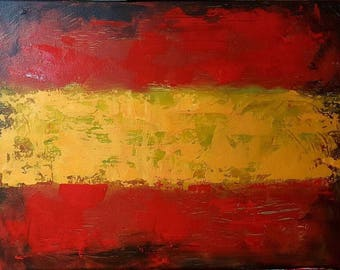 Original New MENDOZA Contemporary Modern Abstract Grunge Textured Flag Spain Spanish Art Painting Canvas