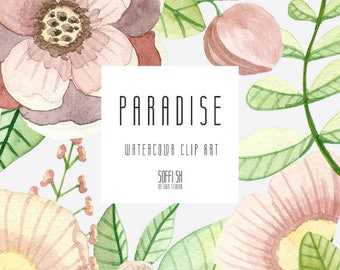 Paradise - - Hand Painted Watercolor floral clipart - Isolated elements - Flourish, rose, berry, flowers, boho, wedding, country, leaves