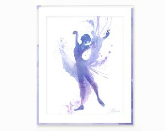 Ballet Dance Watercolor Print , Ballet Wall Art , Ballerina Dancer Digital Print wall art , Ballerina painting ballet clipart Nursery decor