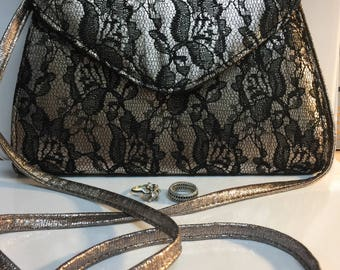 Vintage Neiman Marcus Black Lace Purse, 70s Platinum and Black Lace Cross-Body Purse