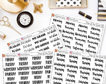 Days of the Week Planner Stickers