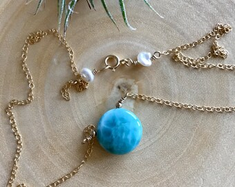 Genuine Larimar healing necklace, Genuine Larimar circle pendant
