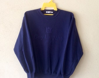 Rare!Vintage 90's GUY LAROCHE Paris Sweatshirt Pullover Jumper Big logo Embroidery Spell Out Hip Hop swag Navy blue colour Large size
