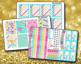 Candy ColorPop - Vertical Planner Stickers Erin Condren Life Planner  ECLP Colorful Candy Rainbow Stickers