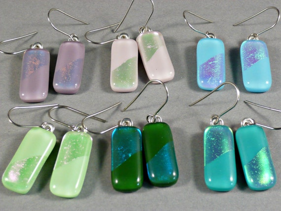 Unique dangle earrings, mint, green, turquoise, pink, blue and mauve, handmade fused glass earrings, Nickel free stainless steel ear hooks