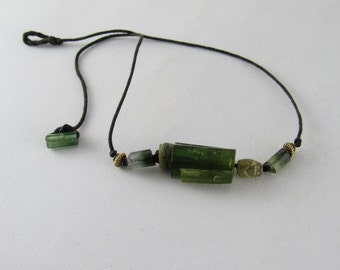 Tourmaline, murrine and indian gold necklace