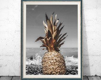 Pineapple Print, Pineapple Art, Summer Print, , Gold Summer Art, Summer Art, Gold Pineapple, Gold Wall Art, Gold Prints, Gold Wall Prints