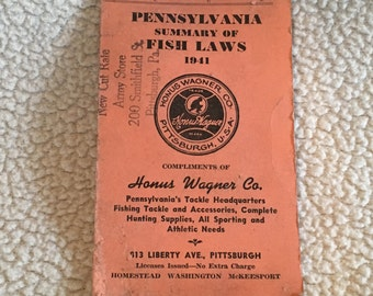 Honus Wagner Sporting Goods Store  1941 PA Fishing Regulations Pamphlet