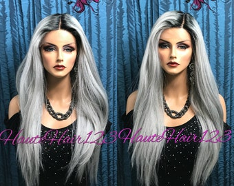 Long Silver Undertone Gray Ombre Lace Front Wig