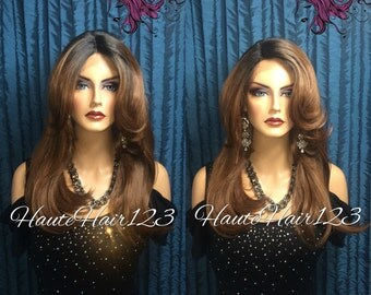 Ombre Auburn Layered Human Hair Blend Lace Front Wig - Cassia