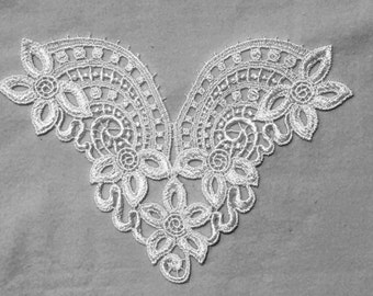 White Venice Lace applique, bridal lace applique, craft applique