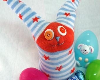 Starletta Bunny, handmade sock bunny plush, soft sock animal toy for kids, Easter Bunny, stuffed animal, Sock Rabbit, Rabbit Stuffed Animal