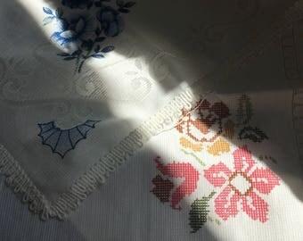 set of unfinished blank vintage napkins / cross stitch project/ needle work project/ petit point / cross stitch