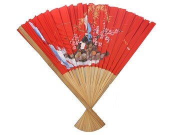 Vintage Large Bamboo Red Asian Wall Fan Made in Taiwan