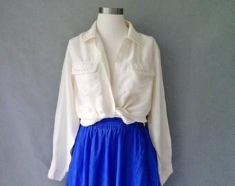 Vintage 100% silk button down shirt blouse size S/M/L