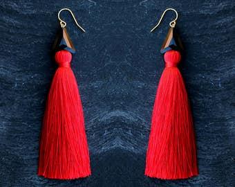 red tassel earrings silk tassels gift for her long dangles high-quality jewelry long statement earrings Swarovski red black summer earrings