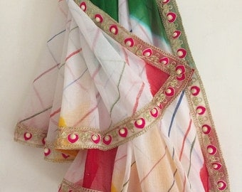 Multicolour Chiffon Rajasthani Traditional Leheriya Women Girls Long Stole Neck Wrap Scarf Indian Dupatta Decorative Craft Fabric VKED108