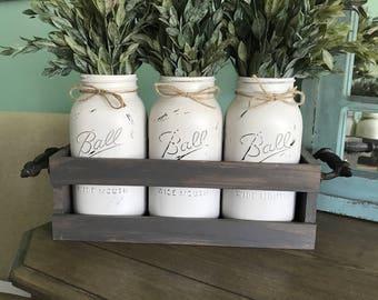 farmhouse decor - fixer upper - joanna gaines inspired - farmhouse rustic mason jar decor - farmhouse table mason jar decor - mason jar deco