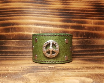 Sea Foam Hand Made Leather Cuff Bracelet with Peace Sign Concho
