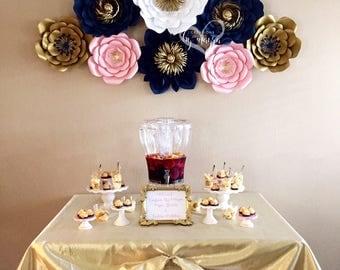 8 pc paper flowers, dessert table decor, dessert table flowers, baby shower decor