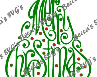 """3 Color/Layer """"Merry Christmas"""" Tree SVG"""