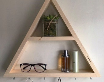 Triangle shelf, jewelery shelf, hanging shelf, hanging jewelery shelf, triangle wall shelf, wall storage shelf, wall shelf, shelves, boho