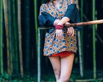 African printed kimono with ligth denim sleeves