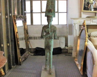 Life-Size Hand Carved Egyptian Wooden Statue