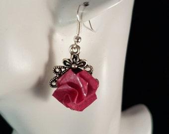 Vintage style deep rose pink origami rose earrings